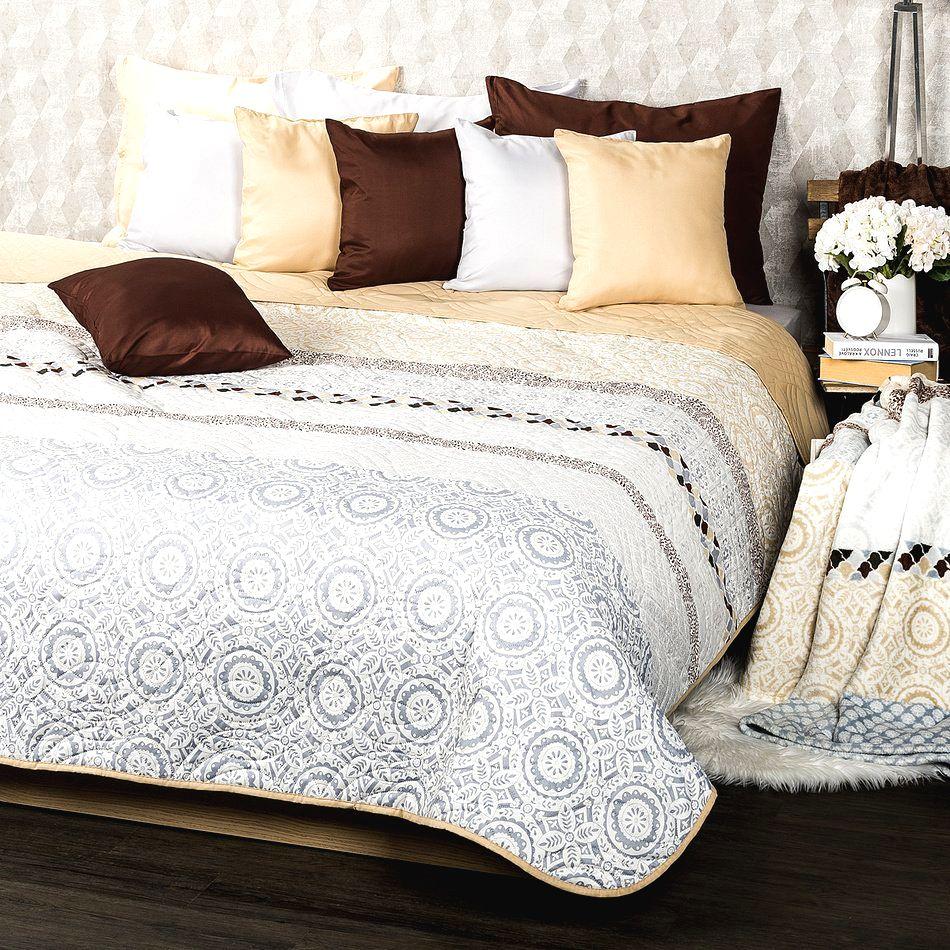 4Home Prehoz na posteľ Circles béžová
