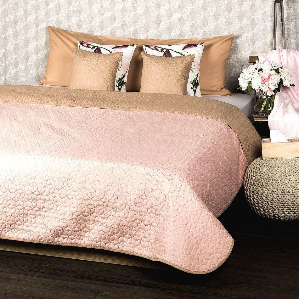 4Home Prehoz na posteľ Doubleface béžová/ružová