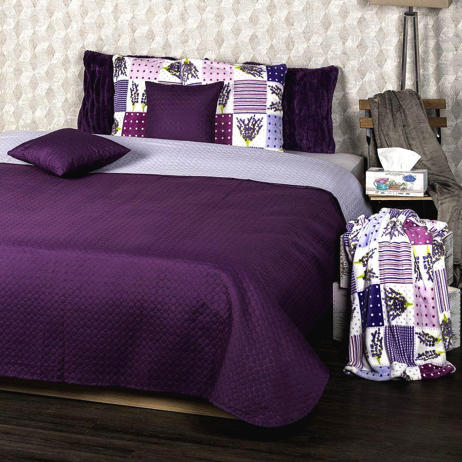 4Home Prehoz na posteľ Doubleface fialová/svetlofialová