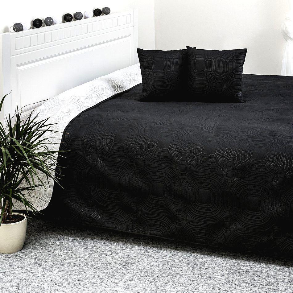 4Home Prehoz na posteľ Doubleface biela/čierna
