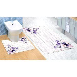 Bellatex Kúpeľňová sada 3D tlač Fialová kytica