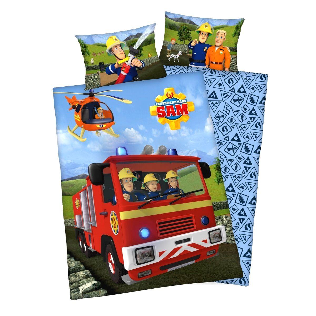 Herding Detské bavlnené obliečky do postieľky Požiarnik Sam