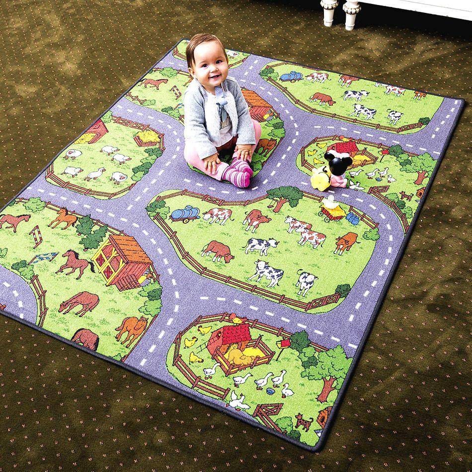 Vopi Detský koberec Farma II sivozelený