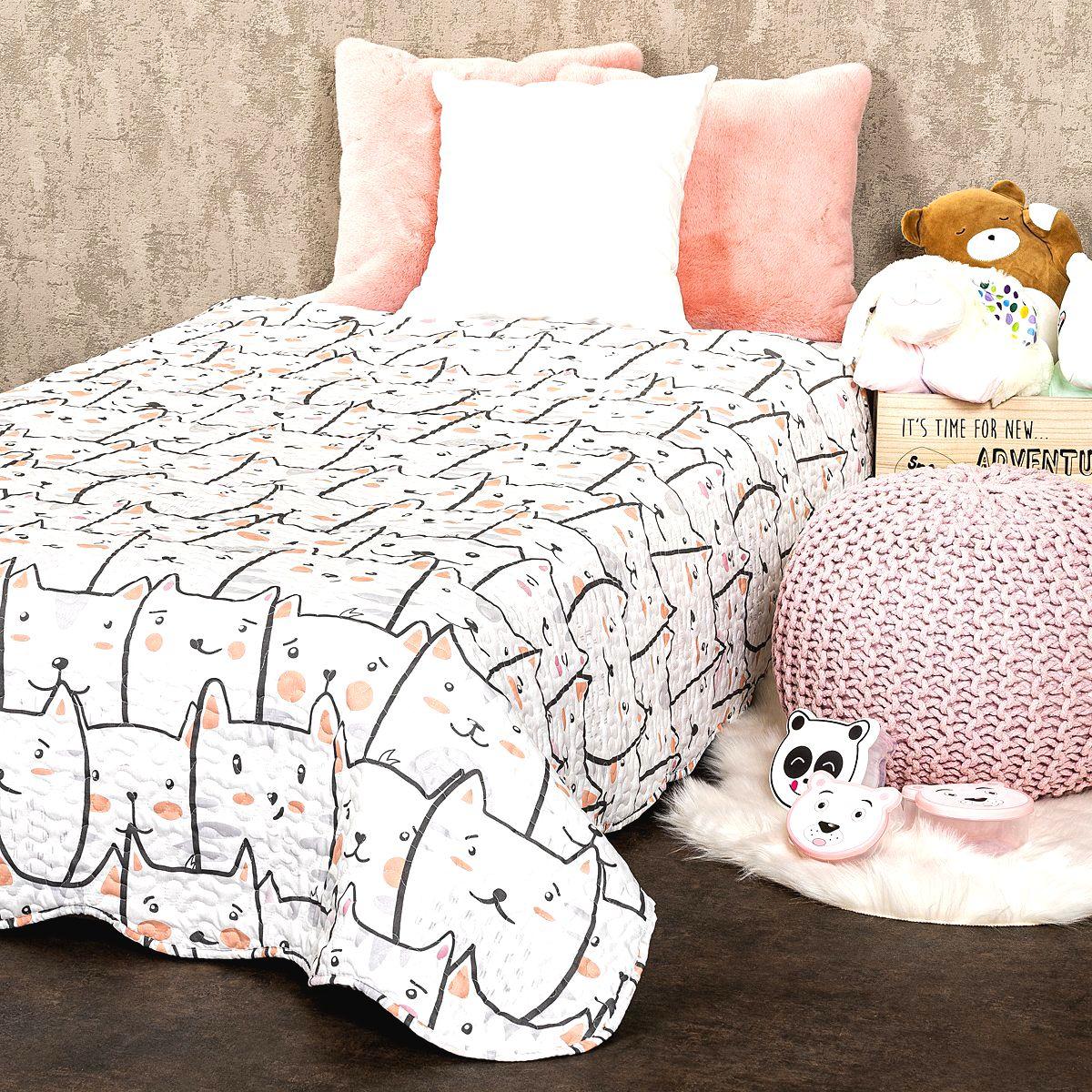4home Detský prehoz na posteľ Mačky