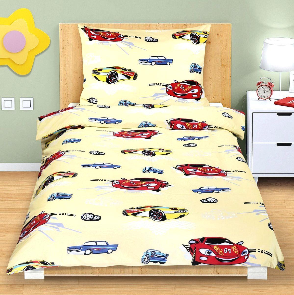 Bellatex Detské bavlnené obliečky Pretekárske autá žltá