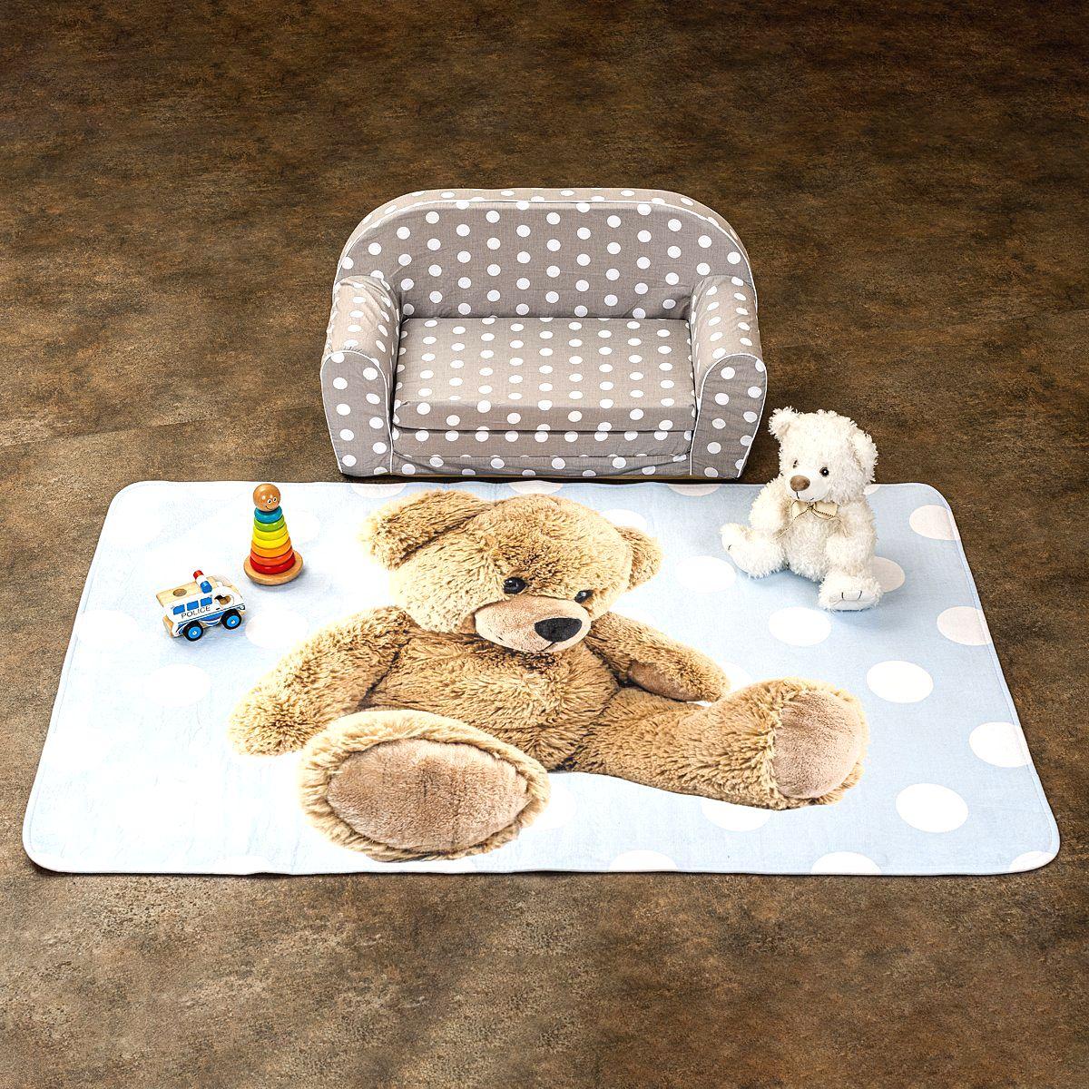 Vopi Detský koberec Ultra Soft Medvedík modrá