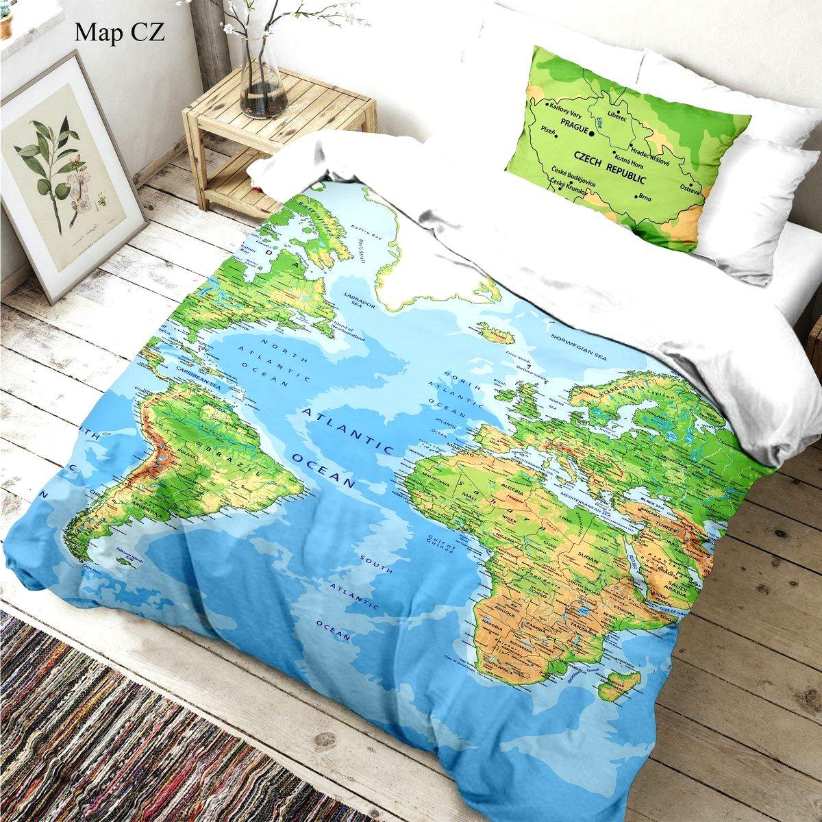 Kvalitex Detské bavlnené obliečky Mapa sveta 3D