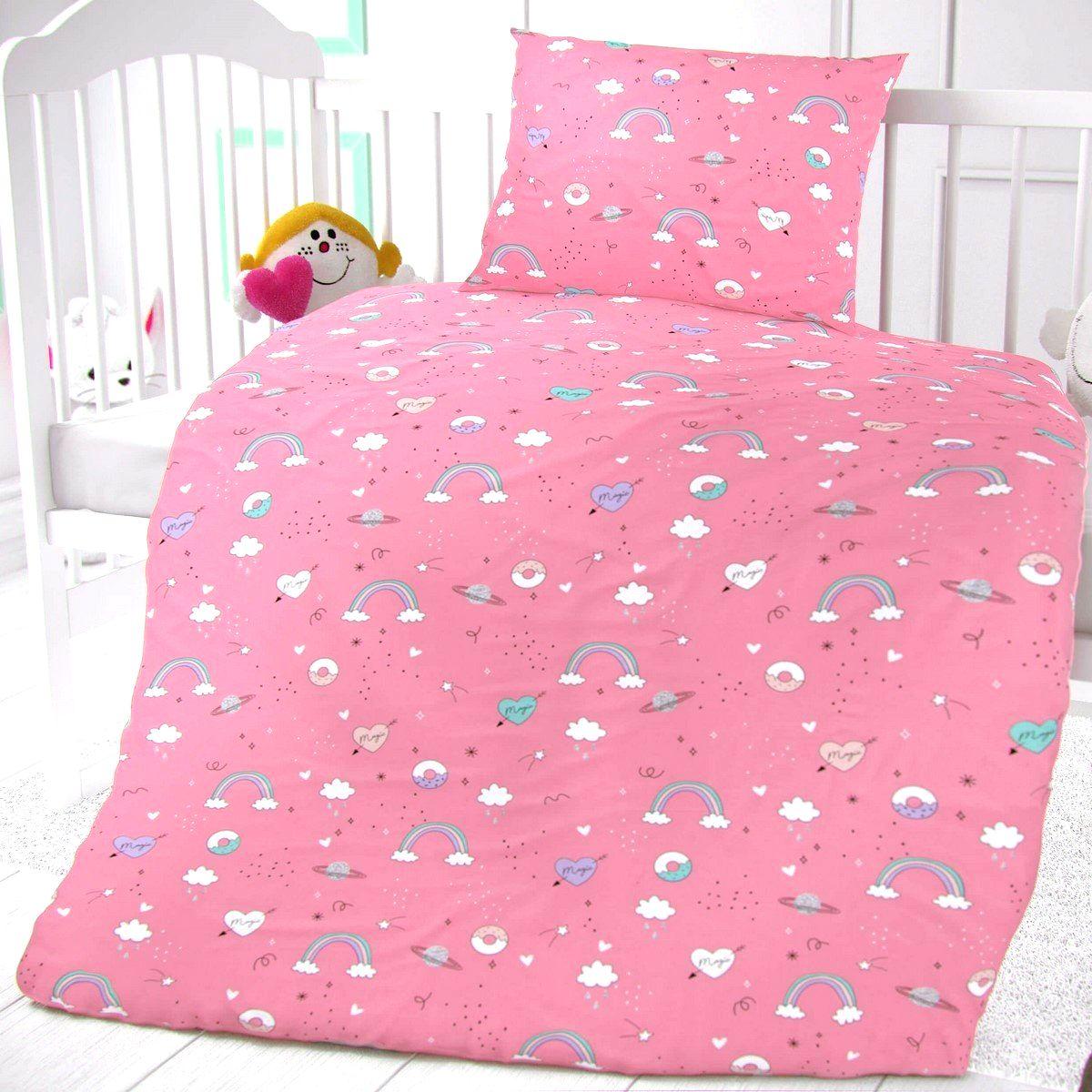 Kvalitex Detské bavlnené obliečky do postieľky Obláčiky ružová